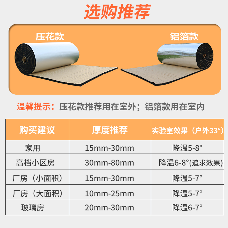 High temperature resistant water pipe roof, cotton material, ceiling moisture-proof, roof aluminum foil insulation fire prevention