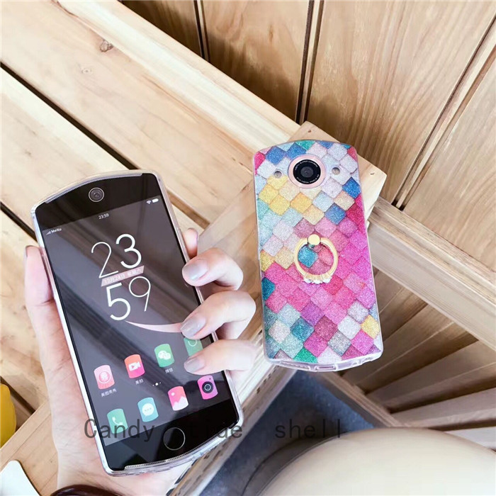 Flashing powder Mermaid figure T8 mobile phone shell m6s silicone all inclusive soft M4 ring bracket anti fall M8 protective sleeve