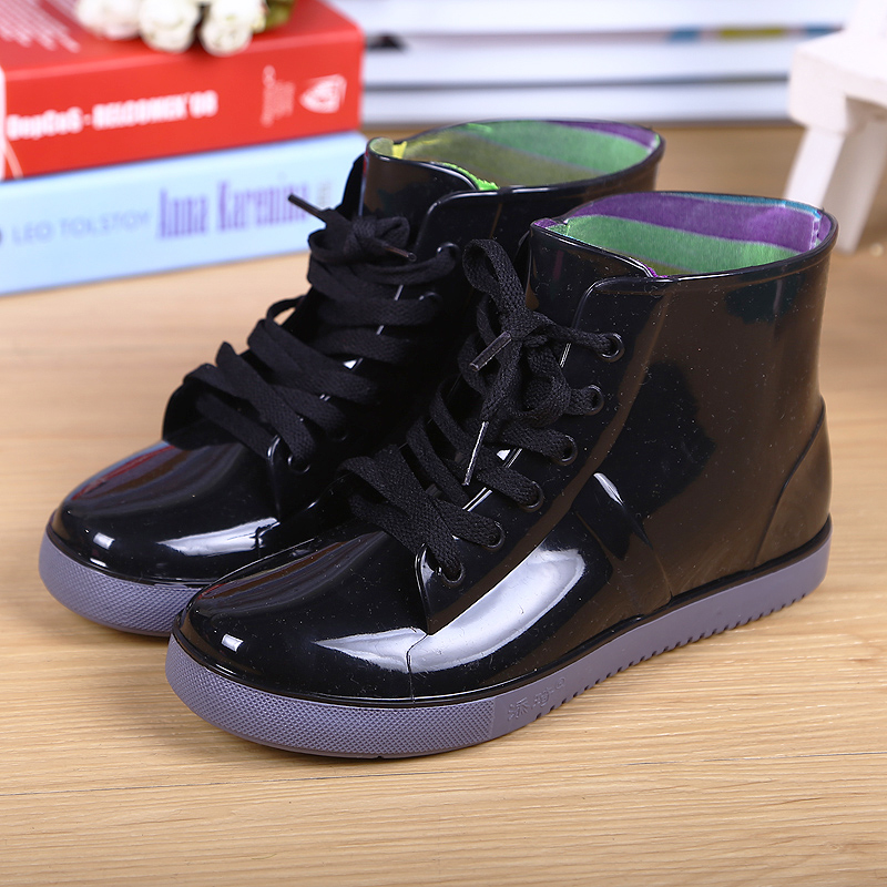 儿童雨鞋男童女童防水雨靴中大童春秋学生系带水鞋小孩胶鞋套鞋