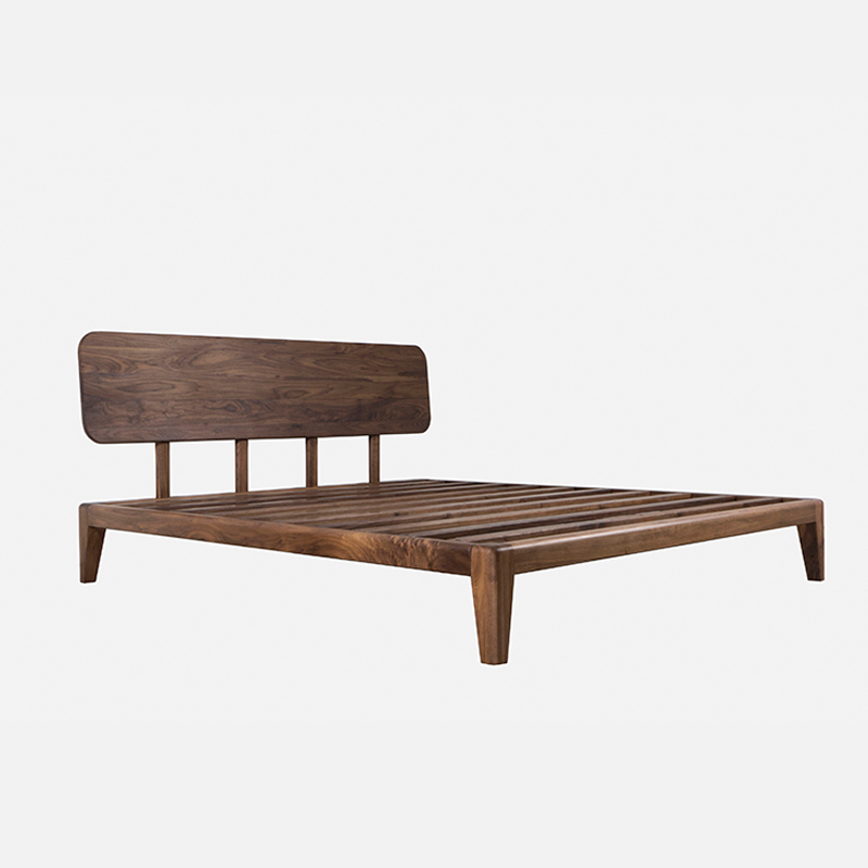 Nordic North American black walnut, all solid wood bed, oak bed, double bed, bedroom, wedding bed, pure solid wood bed customization