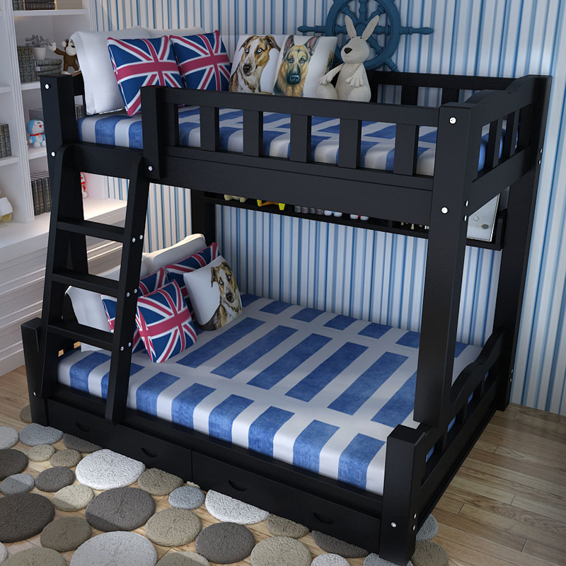 Simple all solid wood children's elevated bed, high and low child bed with barrier, upper and lower berths, adult Mediterranean double bed