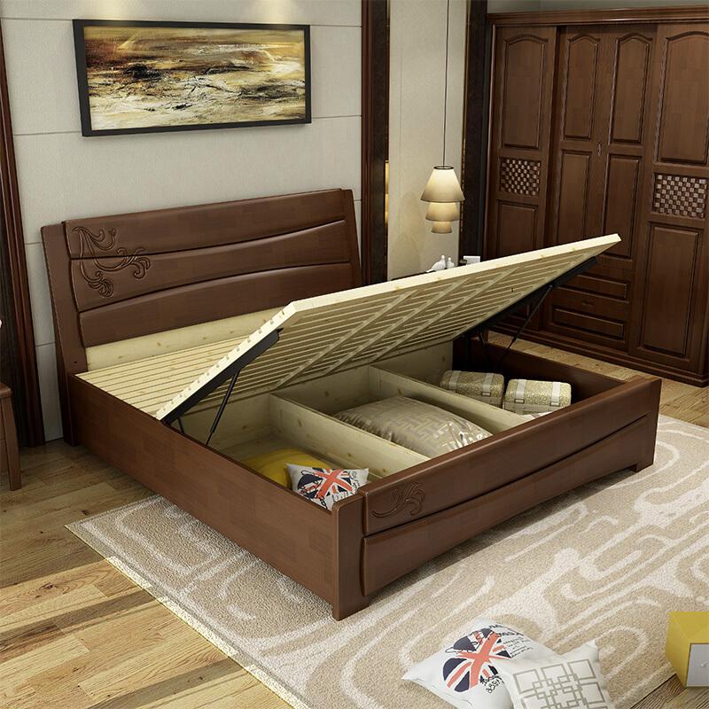Modern simple Chinese solid wood bed 1.8 meters master bedroom, economical 1.5m storage oak double bed 2 meters big bed