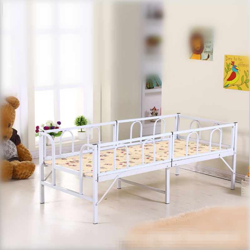 Iron children's bed with guardrail, multifunctional princess bed, easy to fold, folding bed, boy, girl, kindergarten bed