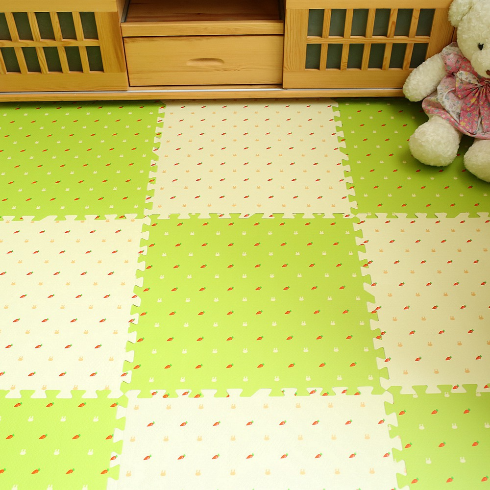 The floor mat crawling pad tatami mat bedroom foam cleaner puzzle simple modern thickened pink stitching