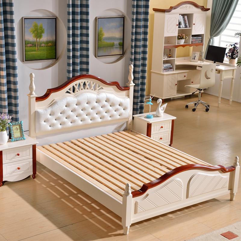 säng, säng, prinsessa av massivt trä av ek 1.51.8 meter dubbelsäng moderna dubbelsäng vit möbler.