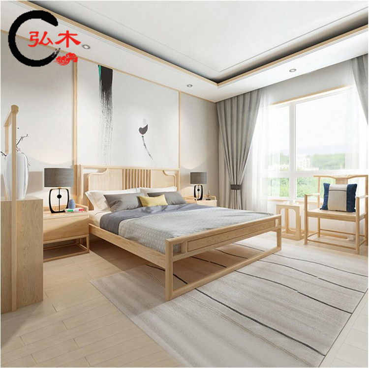 The new Chinese 1.8 meters of wood double bed model Zen bedroom bed homeowners marriage bed hotel furniture