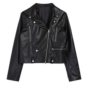 simple retro2018新款皮衣女外套短款高腰修身机车chic小皮夹克潮