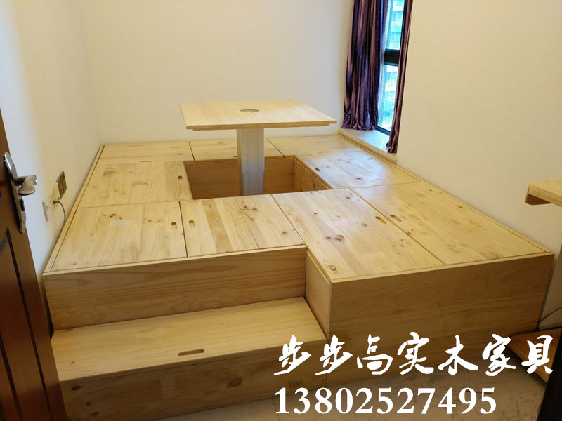 Guangzhou Shenzhen Dongguan custom solid wood bedroom balcony tatami lift platform storage bed whole pine