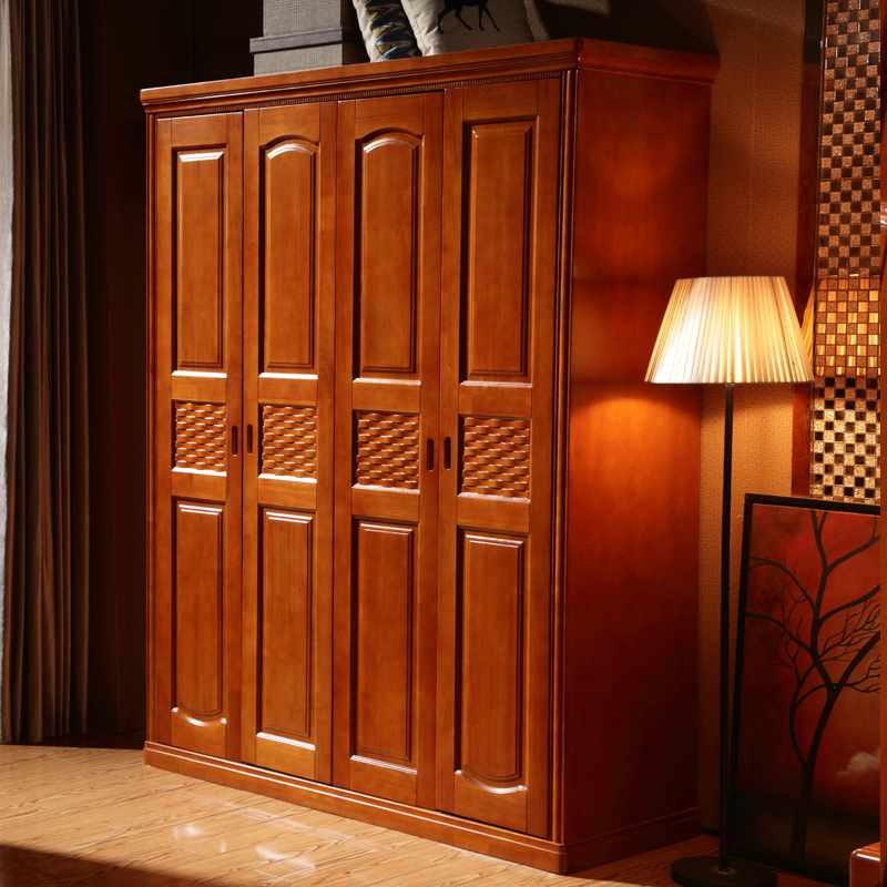 Solid wood wardrobe, Chinese solid wood wardrobe, rubber wood pair door open top assembly modern 23456 door wardrobe