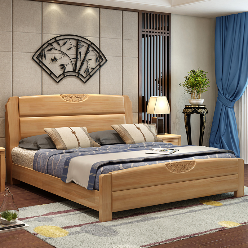 All solid wood bed 1.8M double bed master bedroom, modern Chinese 1.5 meter oak bed, economical high box storage marriage bed