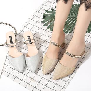 【UYQ】半托鞋女2017新款拖鞋女夏 时尚外穿中跟包头网红拖鞋女夏