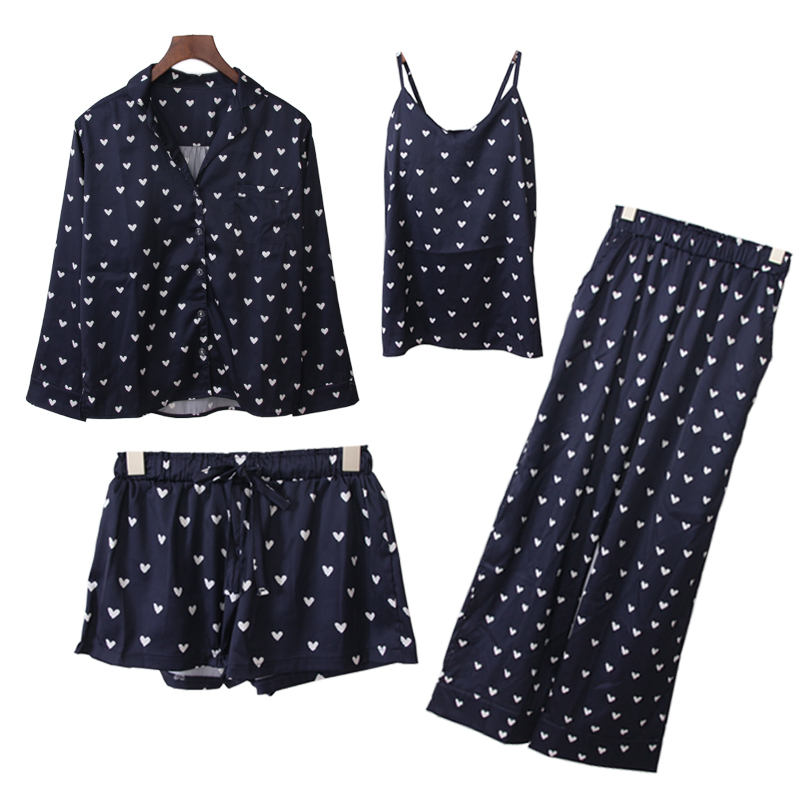 The Japanese love silk pajamas shorts suspenders cardigan shirt tie Home Furnishing four piece female bra
