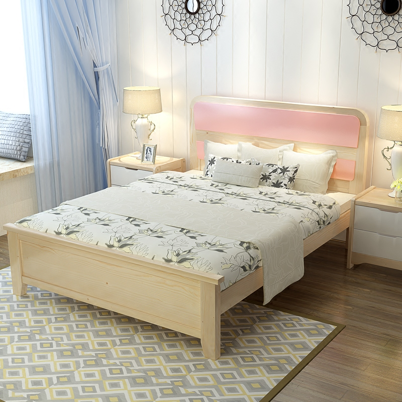 The modern version of the Nordic soft wood bed 1.21.5m single bed 1.8 meters double bed Zhuwo adult bed bag mail