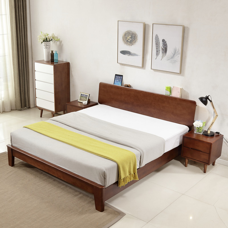 Nordic fashion simple whole solid wood double bed 1.5m1.8m walnut bedroom furniture combination Japanese style bed