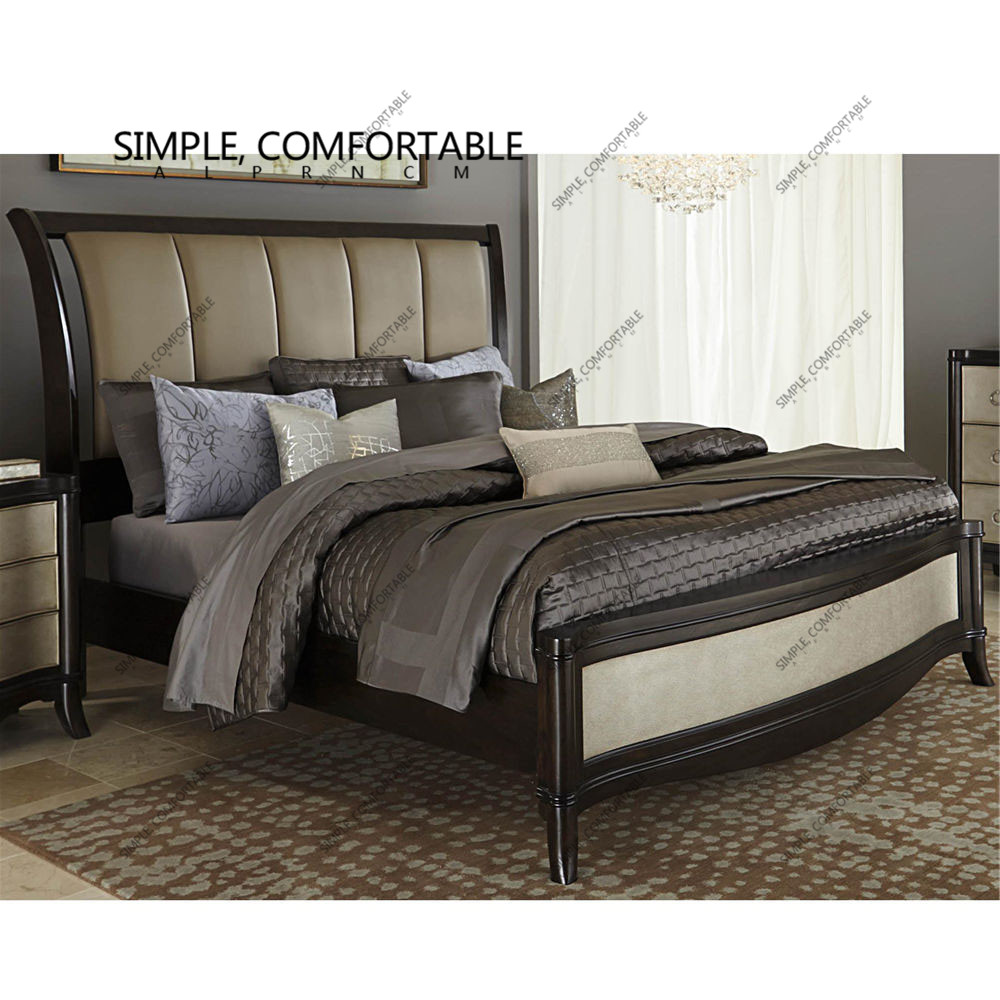 American wood double bed 1.8 new European classical high-grade solid wood bed new Chinese speakers by soft light luxury bed