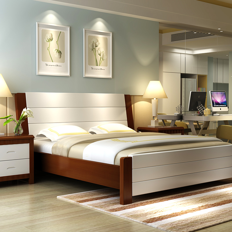 Modern minimalist wood sheets, double 1.5/1.8 meters, white master bedroom, Chinese marriage bed, high box storage oak bed