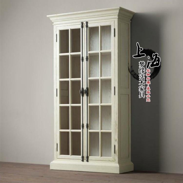 De Amerikaanse land den HOUTEN boekenkast retro glazen deur sluit de Franse restaurant houten kasten