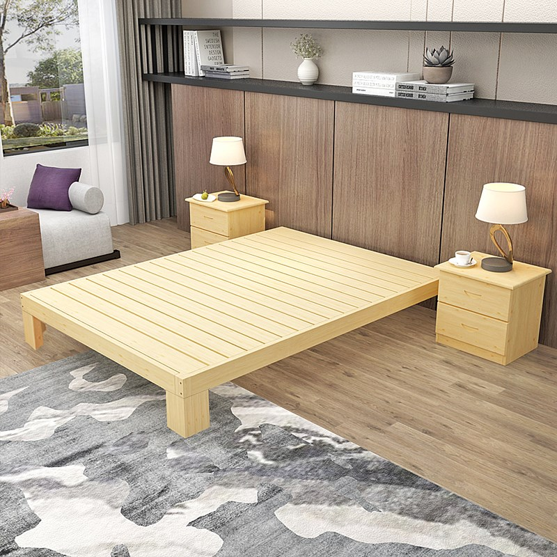 Tatami simple modern solid wood bed bed bed 1.51.8 pine double 1.2 meter wooden simple economic type