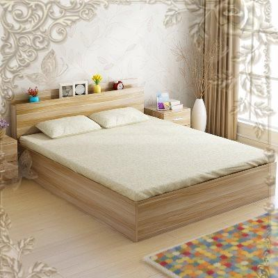 The new Japanese high box type bed Wood White tatami bedstead 1.8 meters 1.51.2 meters of modern minimalist double