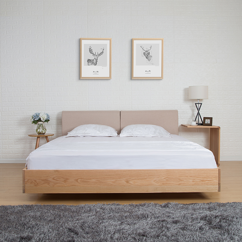 The Japanese tatami bed soft wood bed by bed 1.5 meters 1.8 meters of modern minimalist oak suspension bed