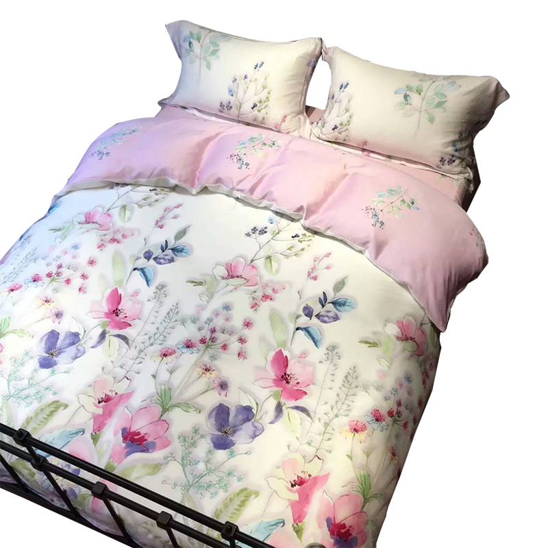 American Pastoral real double four piece silk satin silk Lyocell small fresh bedding