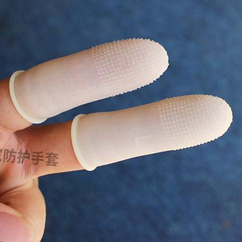 Yellow anti-static disposable rubber finger sleeve protection refers to anti slip factory work to protect finger plastic