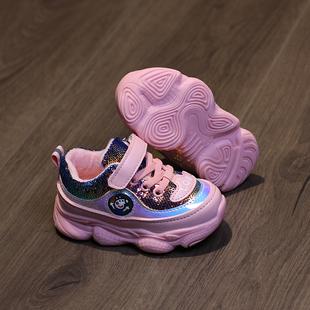 【母婴】宝宝老爹鞋 小童加棉运动鞋女学步亮片女童软底男1一3岁 男童秋软