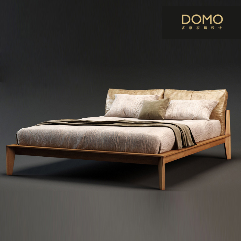 The Nordic modern minimalist ash color double leather large-sized apartment bed bedroom furniture combination bed cloth