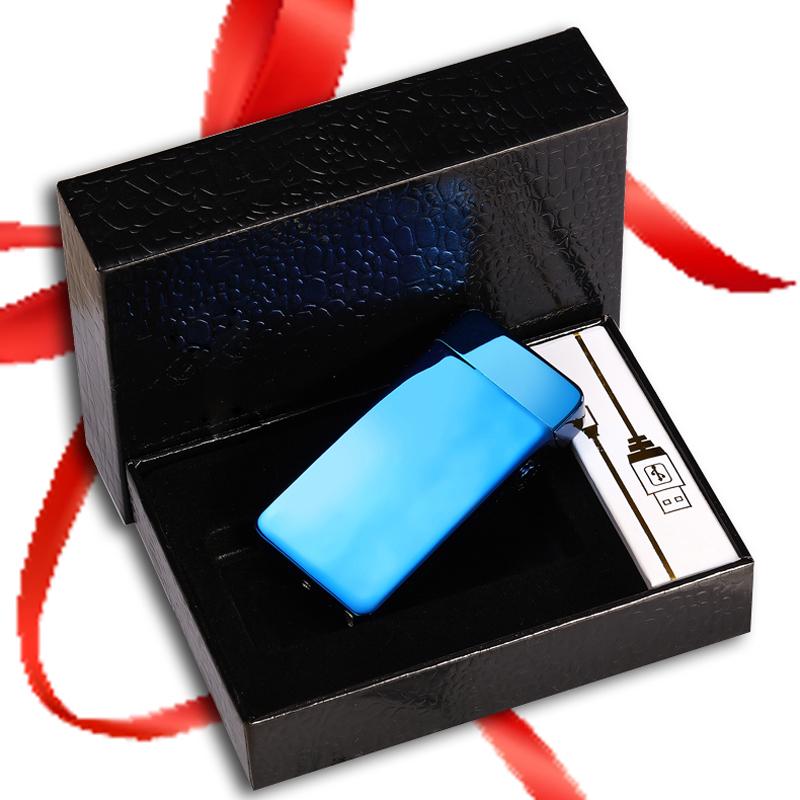 Alta qualidade USB recarregável isqueiro Dupla criativa de Pulso de Corrente de Vento de presente de aniversário personalizado Homens de Letras