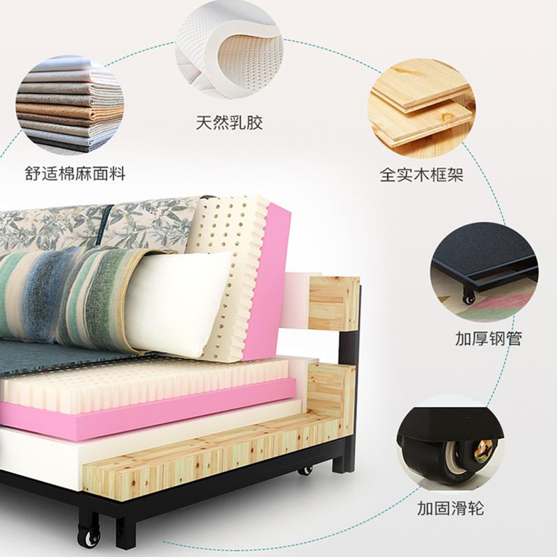 เตียงโซฟาสามารถพับเก็บได้ขนาดเล็กอเนกประสงค์ผ้าพับเตียงโซฟาคู่ 1.5 แยกดึง 1.8 เมตร