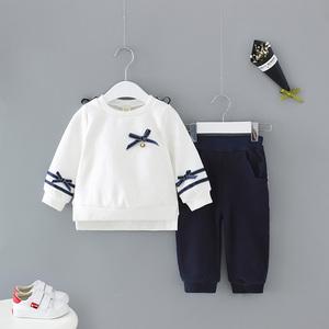 idea2018秋季新款小女童纯色家居休闲套装0-3岁宝宝学院风二件套