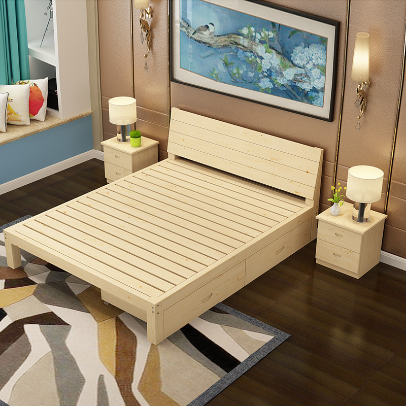 Double bed single bed made of solid wood 1.51.8 m adult Omatsu Ki children bed 1.2 meters double simple wooden bed