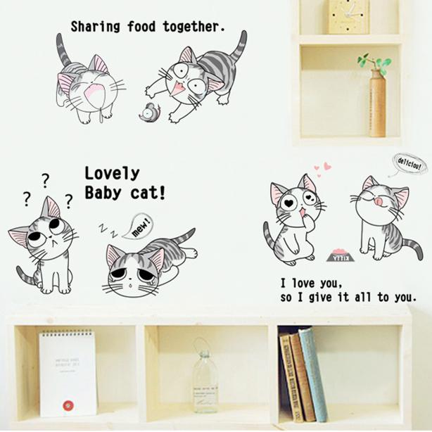 Kinderkamer slaapzaal slaapkamer kinderkamer muurstickers keukenkasten decoratieve cartoon muursticker schattige kaas kat