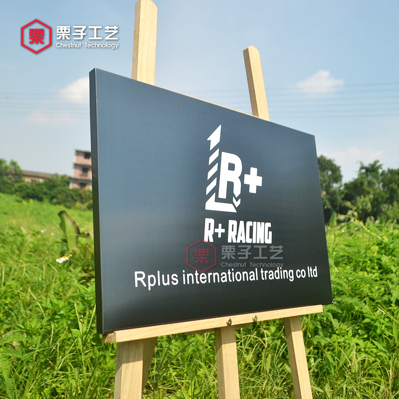 Custom licensing company brand stainless steel corrosion office signboards etching plaque drawing lines BLACKSTEEL promotion