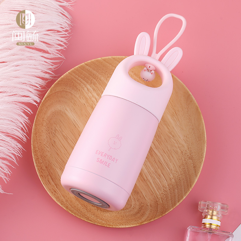 Vacuum cup, lovely girl, Korean version, fresh art, straight drink, vacuum, simple and creative, portable stainless steel