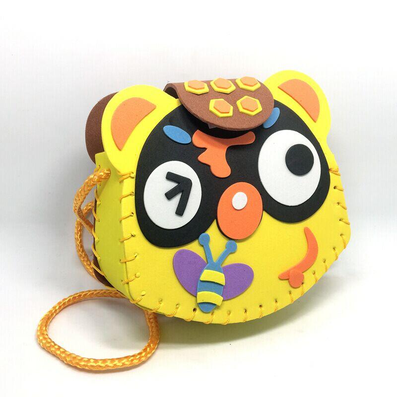 Children DIY handmade EVA material package kindergarten creative zero wallet sewing stereo bag
