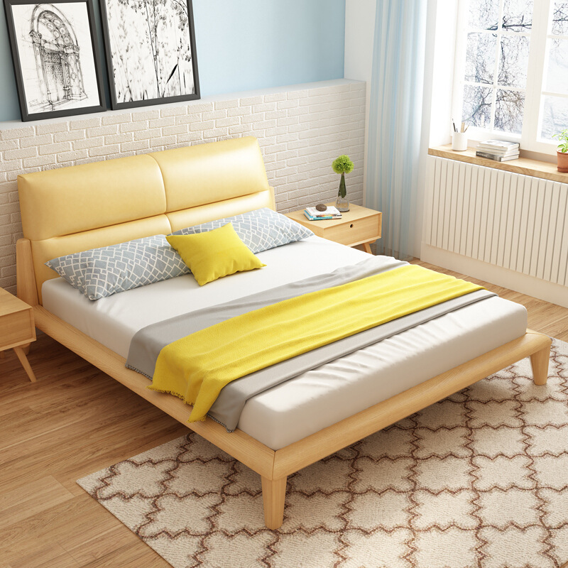 All solid wood bed Nordic 1.5m1.8 2 meters double master bedroom bed modern minimalist tatami economical beech