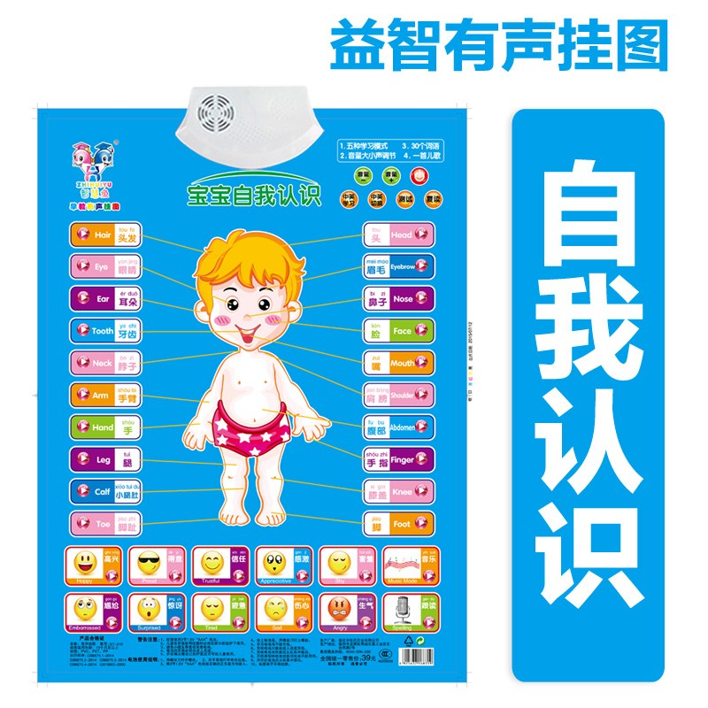 The baby sound Chart Reading toy baby children learn Pinyin letters child literacy enlightenment card number