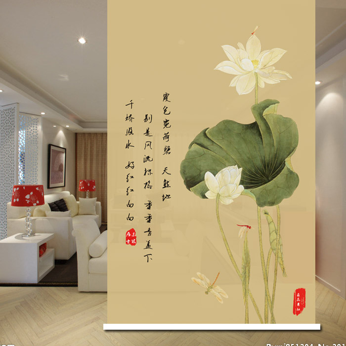 Lotus scroll, lotus inscription, lotus dragonfly, living room partition, entrance size, customized door curtain, personalized customization