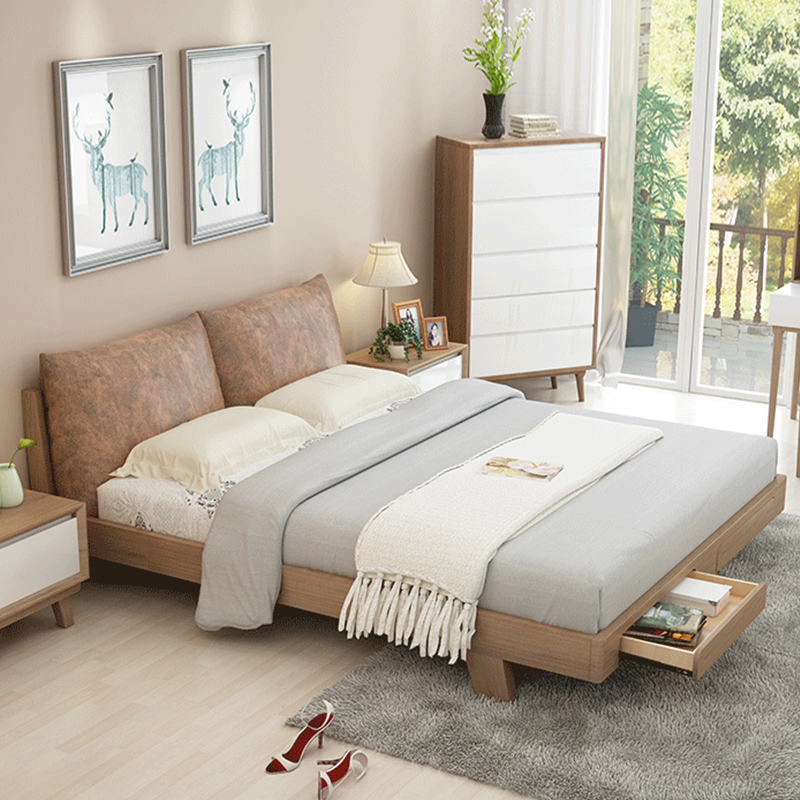 Solid wood bed 1.5 meters, 1.8 meters, Nordic bed, soft bed, master bedroom, modern simple double small apartment