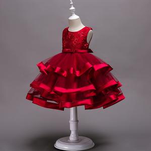 夏装网红女童装连衣裙公主裙7岁6洋气女宝宝红礼服儿童蓬蓬纱裙子