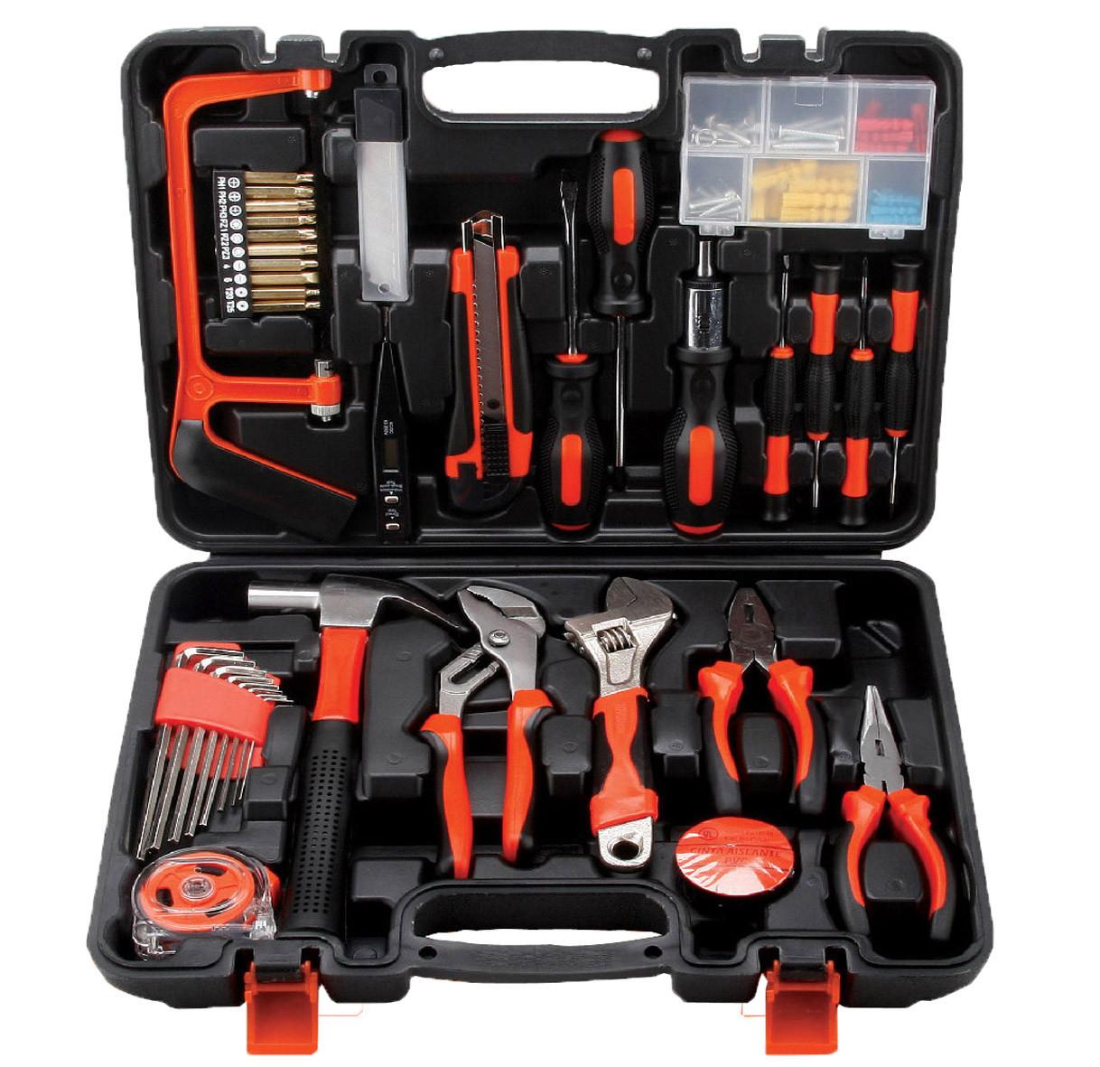 La combinazione di una serie di strumenti Hardware domestici di Legno cassetta attrezzi dono di manutenzione Manuale