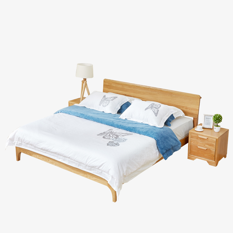 A modern minimalist Nordic white oak wood wood bed 1.5 meters 1.8 meters double bed single bed type economy