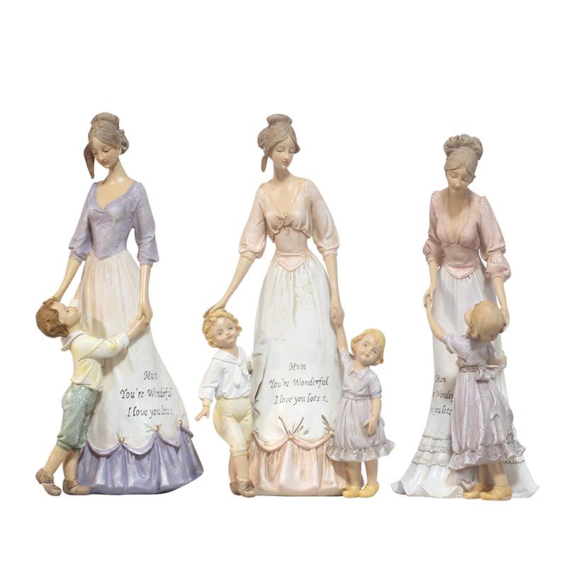유럽식 모자 모녀 세 식구는 거실 장식품 거실 tv 계산대 현관 찬장 창의 장식품 장식품