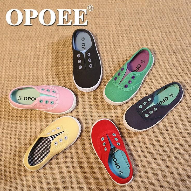 opoee儿童帆布鞋宝宝鞋女童休闲单鞋男童板鞋糖果色一脚蹬韩版潮