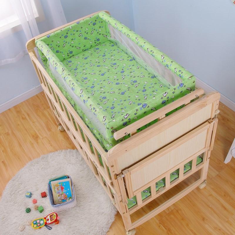 سرير الطفل السرير سرير الخشب الصلب المستوردة من نيوزيلندا مهد الطفل السرير صغيرة BB مهد مهد الحزمه موازية تغذية البعوض صافي