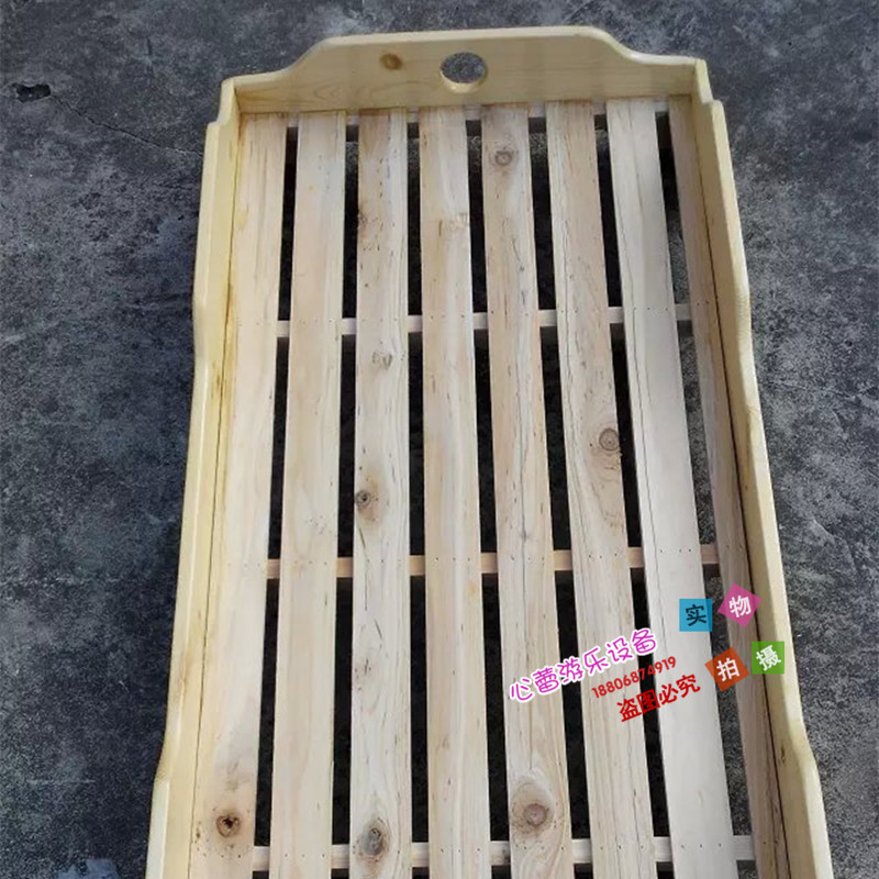 Green bed nap bed, folding bed, single double lunch bed, log folding bed, Chinese fir wood bed for kindergarten children