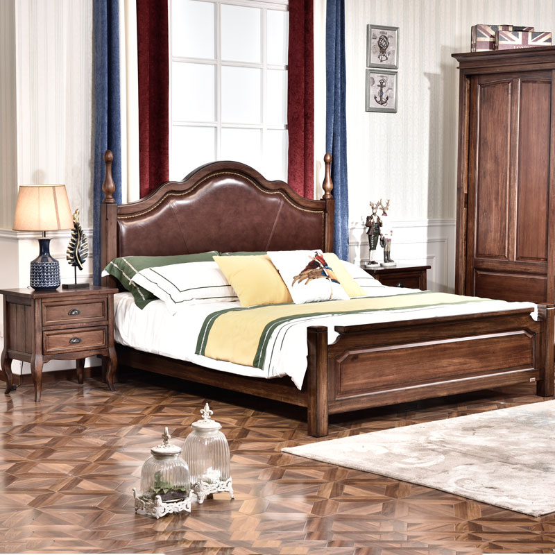 American pure solid wood 1.8 meters, master bedroom double bed, walnut soft, ordinary high bed, high grade bedroom furniture
