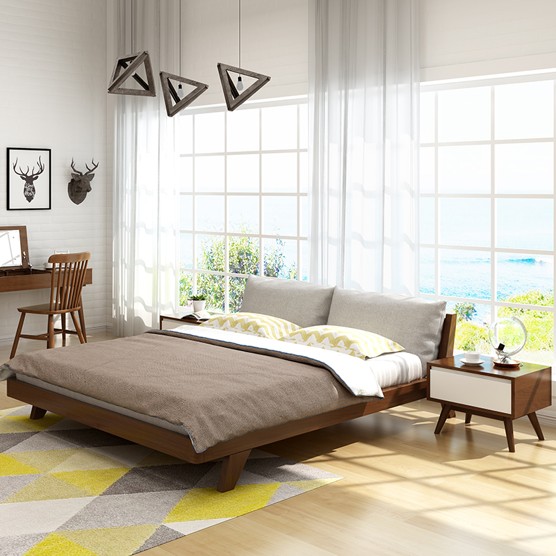 The soft bed simple modern cloth wood double Zhuwo 1.5 m log 1.8m Japanese style bed