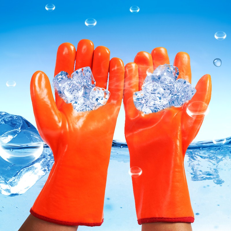 Add wool to keep warm, men thicken, freeze proof, waterproof, wrinkle, cotton cold storage, protective dipping, labor protection gloves, strengthen winter